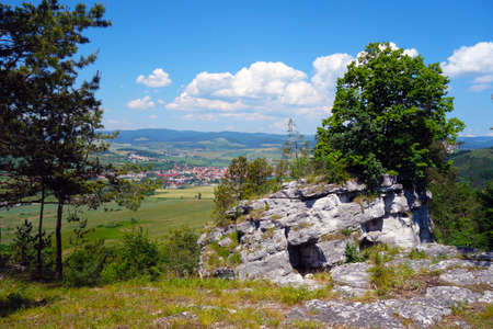 View of the surroundings from the travertine mountain Dreveník Slovakia, in the background lies the town of Spišské Podhradie