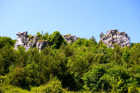 Beautiful travertine rocks called travertine mound in Dreveník not far from Spišské Podhradie, the largest travertine area in Slovakia