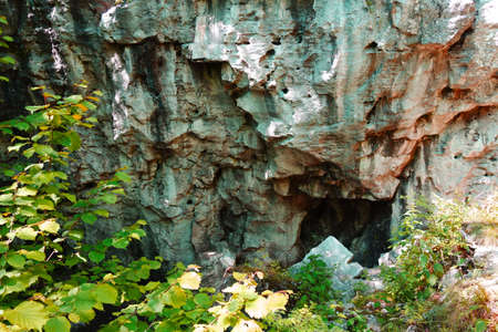 A hole in a travertine rock creates a nice impression on an object, Dreveník Slovakia