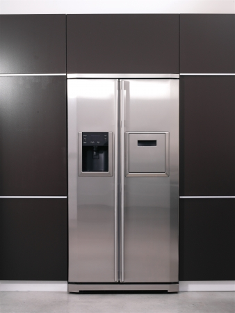 closed: Modern refrigerator  Stock Photo