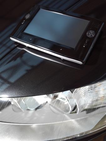 netbook: Black net-book on car
