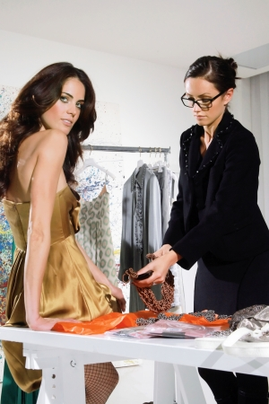 atelier: woman in fashion atelier haute couture Stock Photo