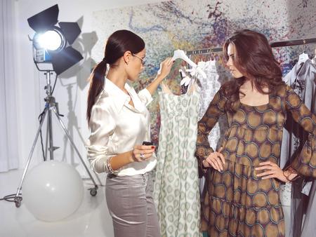 haute: woman in fashion atelier haute couture Stock Photo