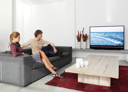 tv remote: young couple sitting on the sofa watching tv in the living room
