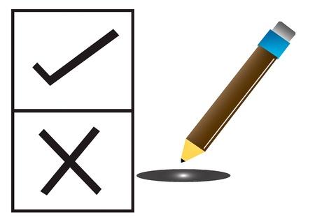incorrect: Election Pencil Check Mark Illustration