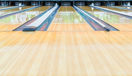 bowling strike: Bowling alley.With surface polished with wax beautifully. Stock Photo