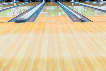lanes: Bowling alley.With surface polished with wax beautifully. Stock Photo