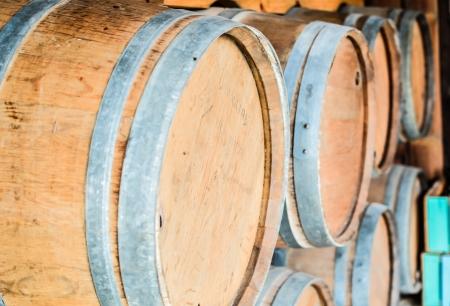 Oak barrels for maturing red wine. photo