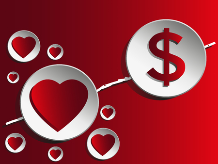 Love and money.Love is greater than money. Vector