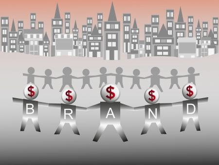 g�n�rer: Les gens se tenant la main pour construire une marque et g�n�rer de l'argent. Illustration
