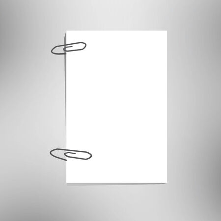 close up of a blank paper and clip. Stock Photo