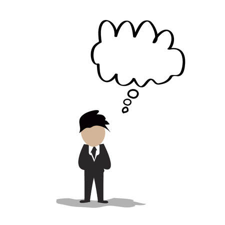 Businessman with empty  thought bubbles Vector
