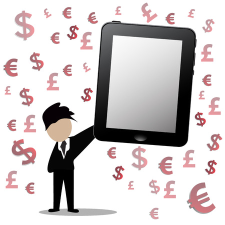 financial symbol: Businessman holding a tablet with financial symbol.