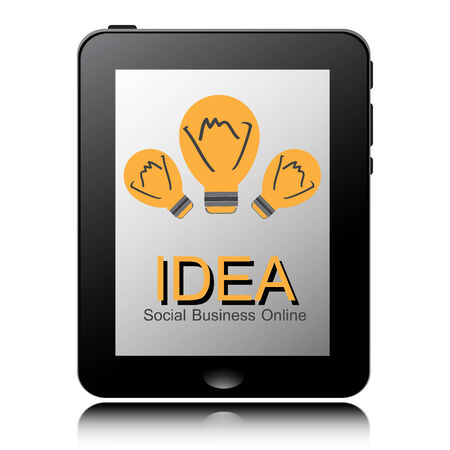tablet pc computer with Light Bulb icon on display. Vector
