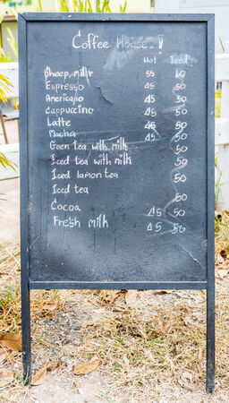 Coffee chalkboard menu. photo