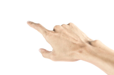 Man hand touching virtual screen. Isolated on white. photo