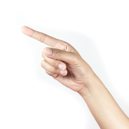 Woman hand pointing on white background photo