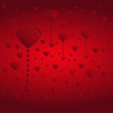 fondo rojo: Concepto de corazones rojos sobre fondo d�a de San Valent�n. Vectores