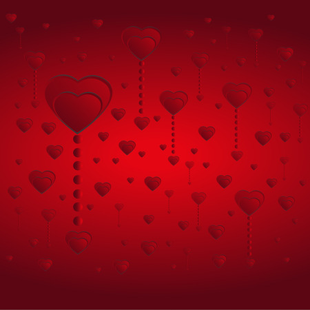 Red hearts concept on Valentines day background. Illustration