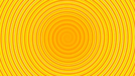 黄色い渦巻き円形波背景。
