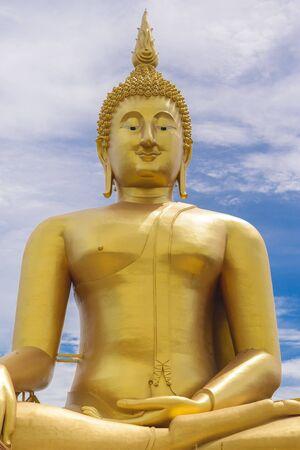 ang thong: Golden Buddha statue of big buddha.Wat Muang temple, Ang Thong, Thailand