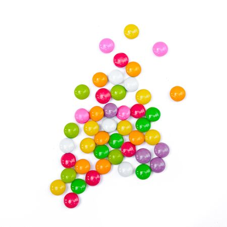 gumballs: Colorful candies on white background