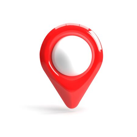 Red GPS pointer. Red map pointer. isolated on white background. three-dimensional rendering. 3d render.