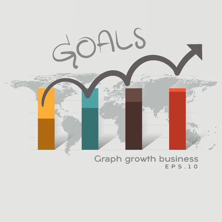 Goals graph business. Business development to success and growing growth concept. Business growth abstract background. Pointing arrow graph corporate future growth plan.