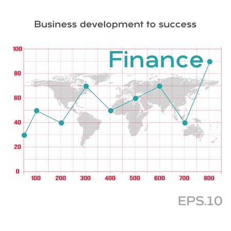 Finance line graph on the statistics table. Statistics graph on the world map. Business growth abstract background. Graph corporate future growth plan. Business development to success concept.