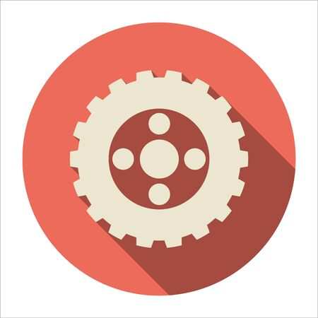 Cog (gear) icon on black shadow backgrounds. Gears and cogs symbol. Industrial icon. Web design icon. Space for gear text.