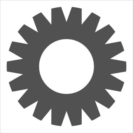 Grey industrial icon on white background. Gears and cogs symbol. Industrial icon. Web design icon. Space for gear text and logo.