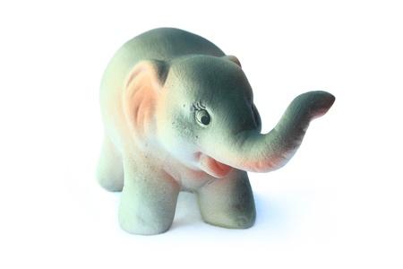 ceramic elephant on white background photo