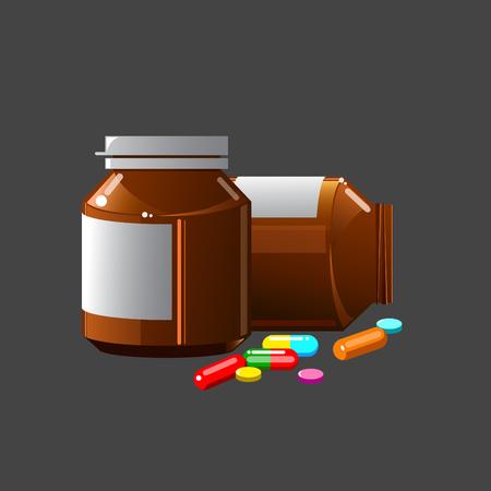 gray: Bottles of medicine on a gray background Illustration