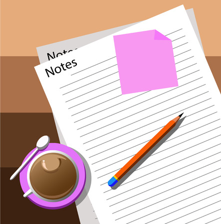 note paper: Note paper and pen on desk Illustration