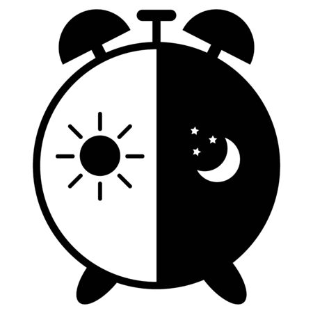 midnight hour: illustrations clock on a white background Illustration