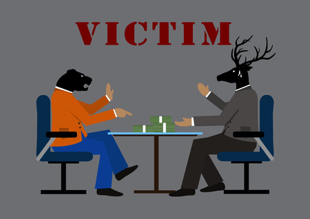 victim: illustration victim and business on gray background