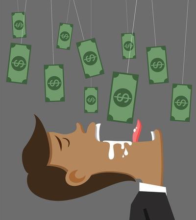 swindler: vector illustation businessman money and bait