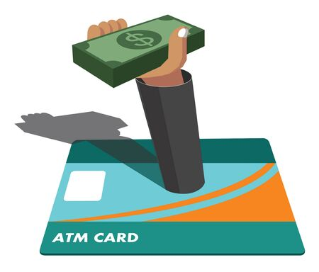 atm card: vector atm card , hand and money