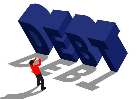 financial burden: businessman running from big debt message Illustration