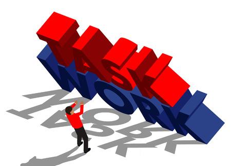 work task: businessman running from big task and work message Illustration