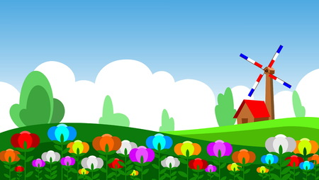 weathercock: illustration tulip in meadow, house and weathercock Illustration