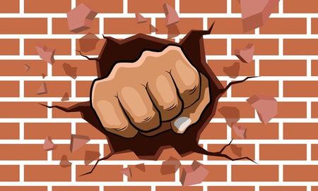 punching fist smashing through a concrete and brick wall Stock Illustratie