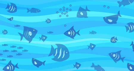 blue fish: fish and wave blue pattern