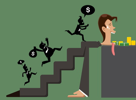 exploitation: illustration man and business with exploitation