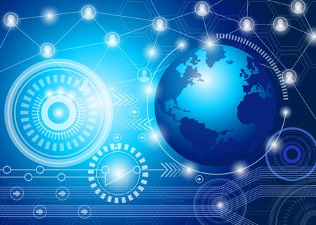 digital global technology concept and abstract background Stock Illustratie