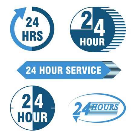 24 hours: 24 hours service logo and icon