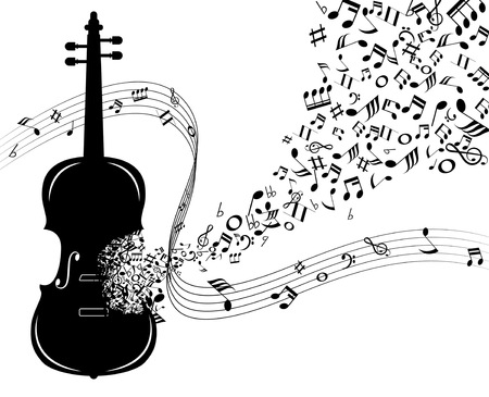 silhouette violin note and music