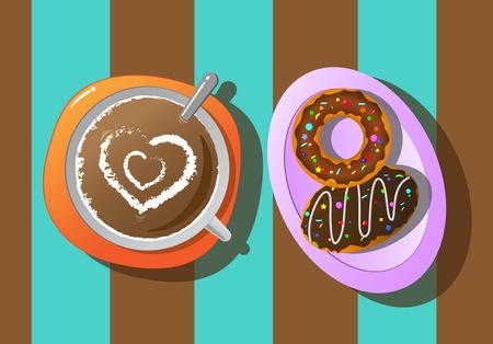 coffee break: relax coffee break and donut