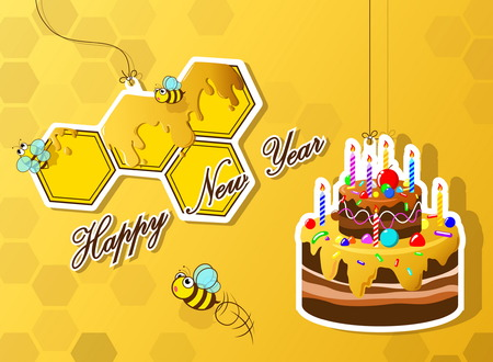 happy new year card  with cute bee Ilustração