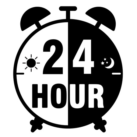pm: clock icon on a white background Illustration